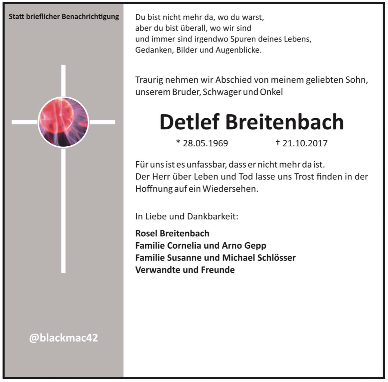 Traueranzeige Detlef Breitenbach alias @blackmac42